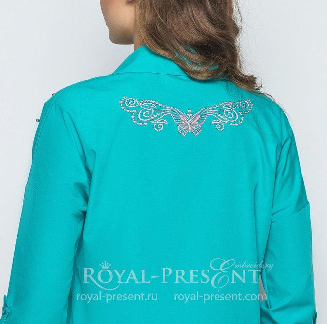Бесплатный Дизайн машинной вышивки Бабочка в тату стиле RPE-1382