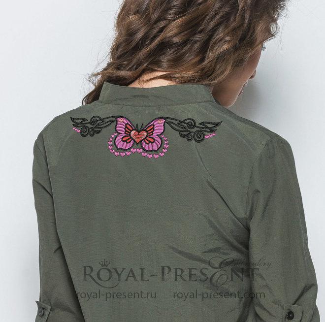 Бабочка в тату стиле Дизайн машинной вышивки - 4 размера RPE-1384