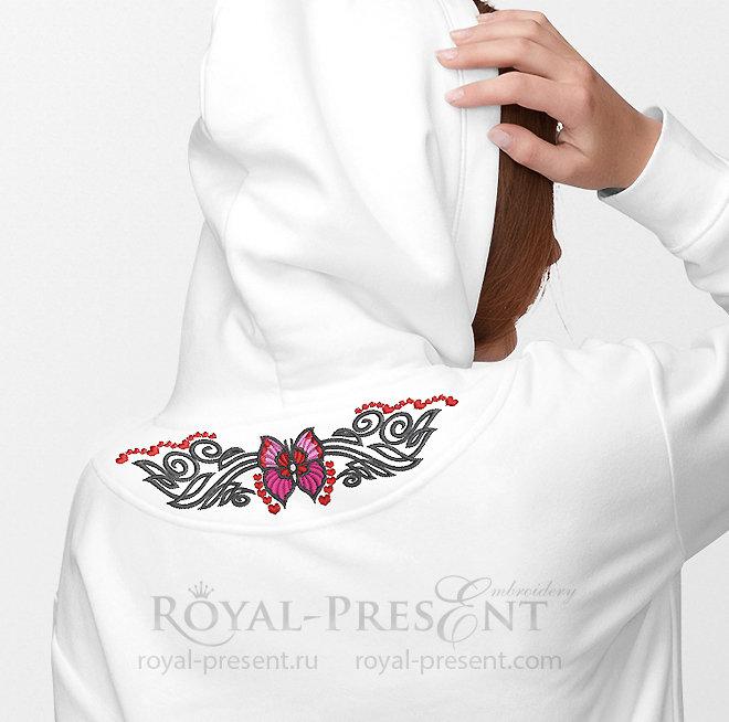 Дизайн машинной вышивки Бабочка тату - 4 размера RPE-1385