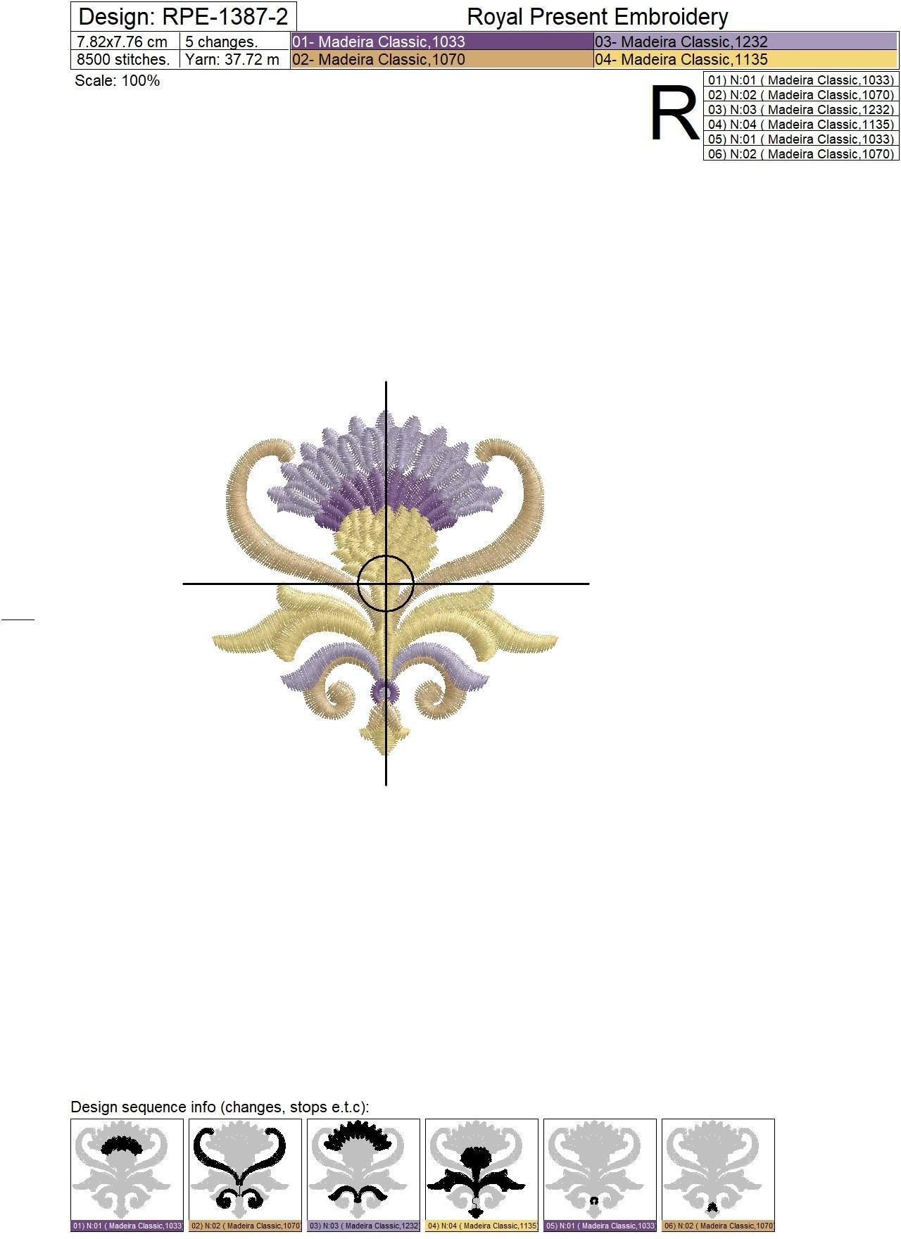 Дизайн машинной вышивки Золотой Чертополох - 3 размера