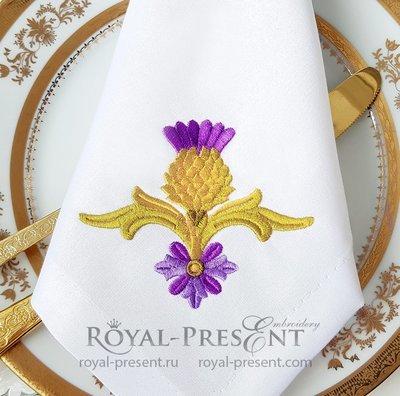 Бесплатный Дизайн машинной вышивки Золотой Чертополох