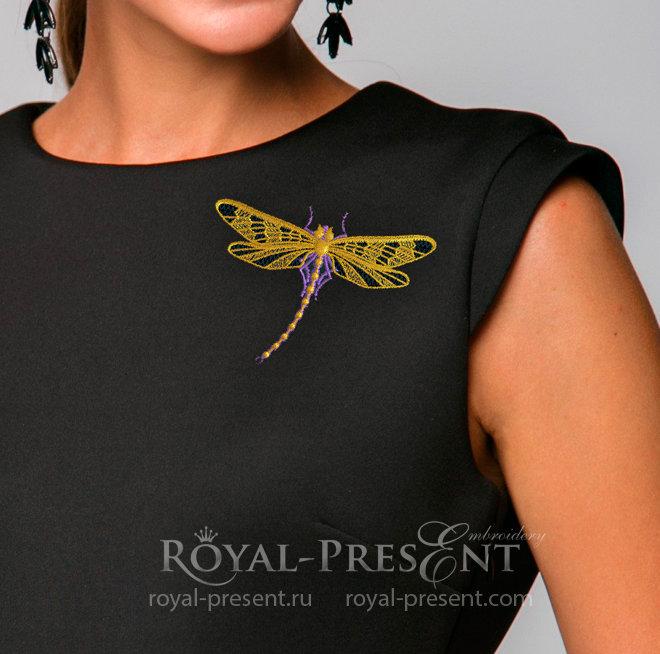 Дизайн машинной вышивки Стрекоза с золотыми крылышками