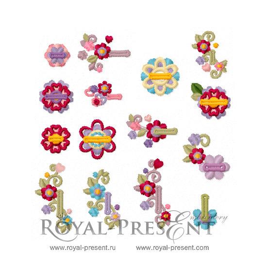 Набор дизайнов машинной вышивки Детские петли для пуговиц RPE-1398