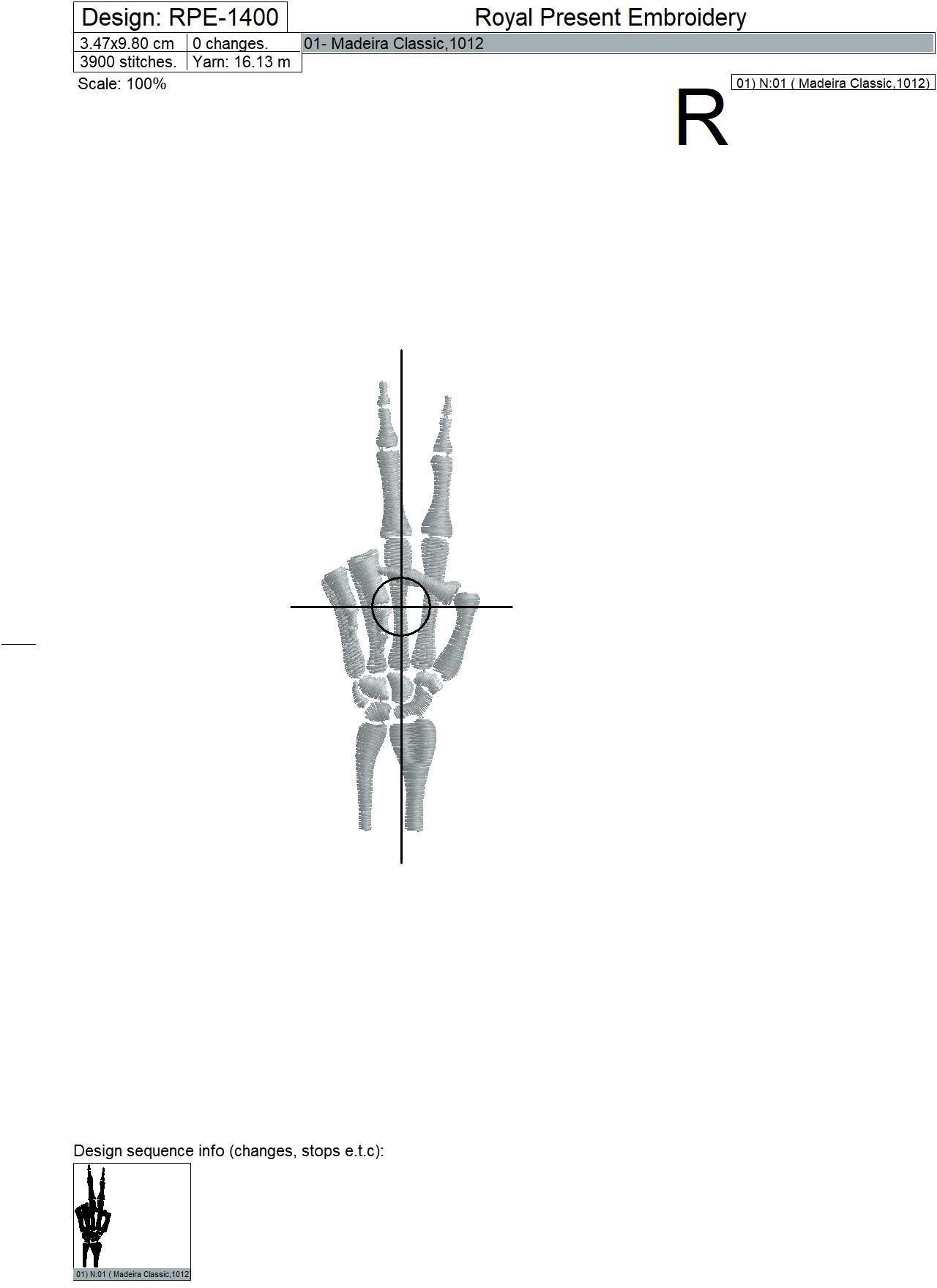 Бесплатный дизайн машинной вышивки Рука скелета