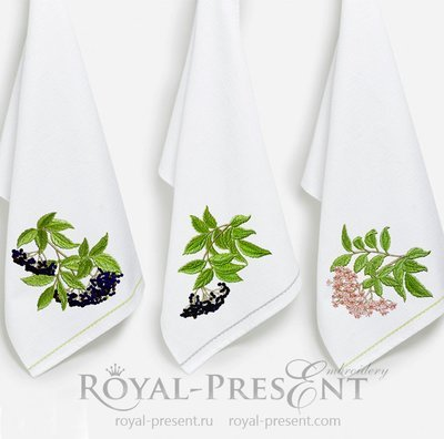 Три дизайна машинной вышивки Бузина
