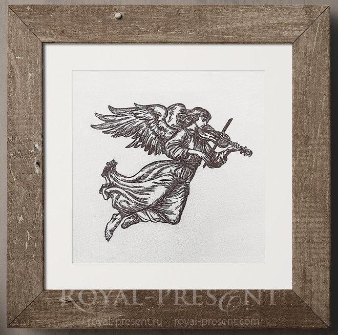 Дизайн машинной вышивки Ангел со скрипкой RPE-956