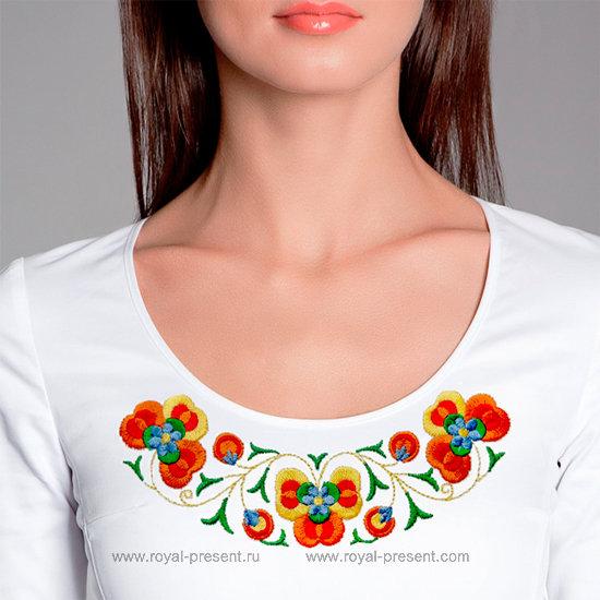 Дизайн машинной вышивки Венгерский цветочный орнамент