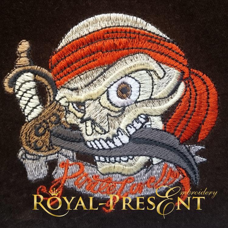 Дизайн машинной вышивки Пиратский череп - 3 размера RPE-885