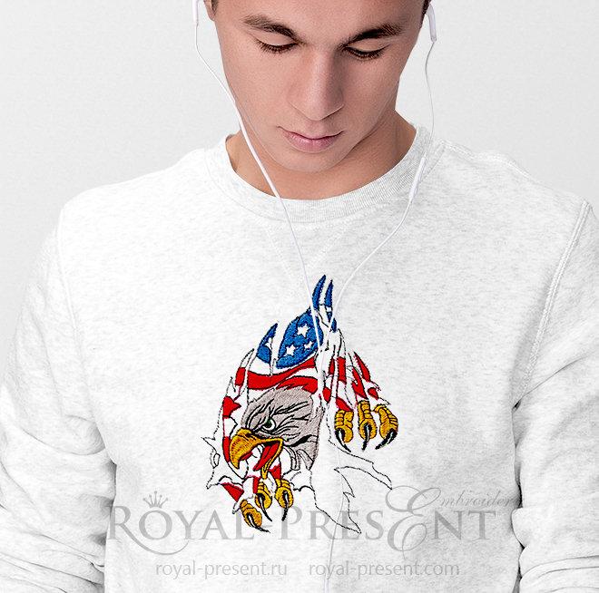 Дизайн машинной вышивки Американский Орел RPE-886