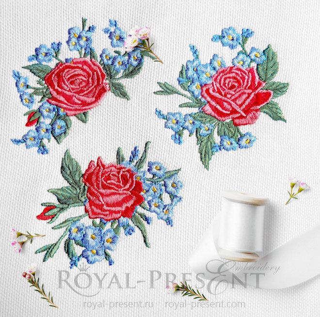 Дизайны машинной вышивки Три букетика розы и незабудки RPE-1414
