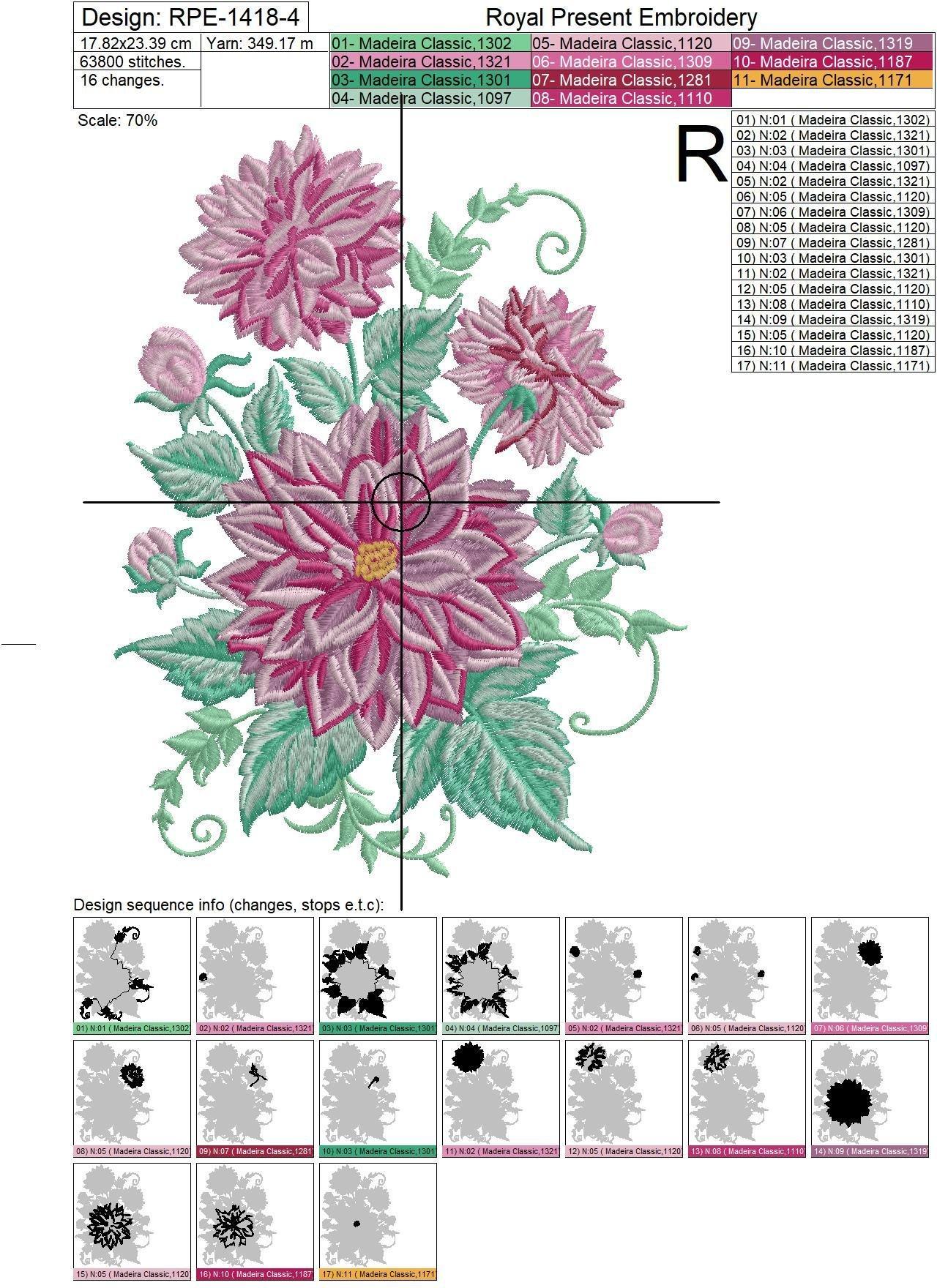 Дизайн машинной вышивки Георгины - 4 размера