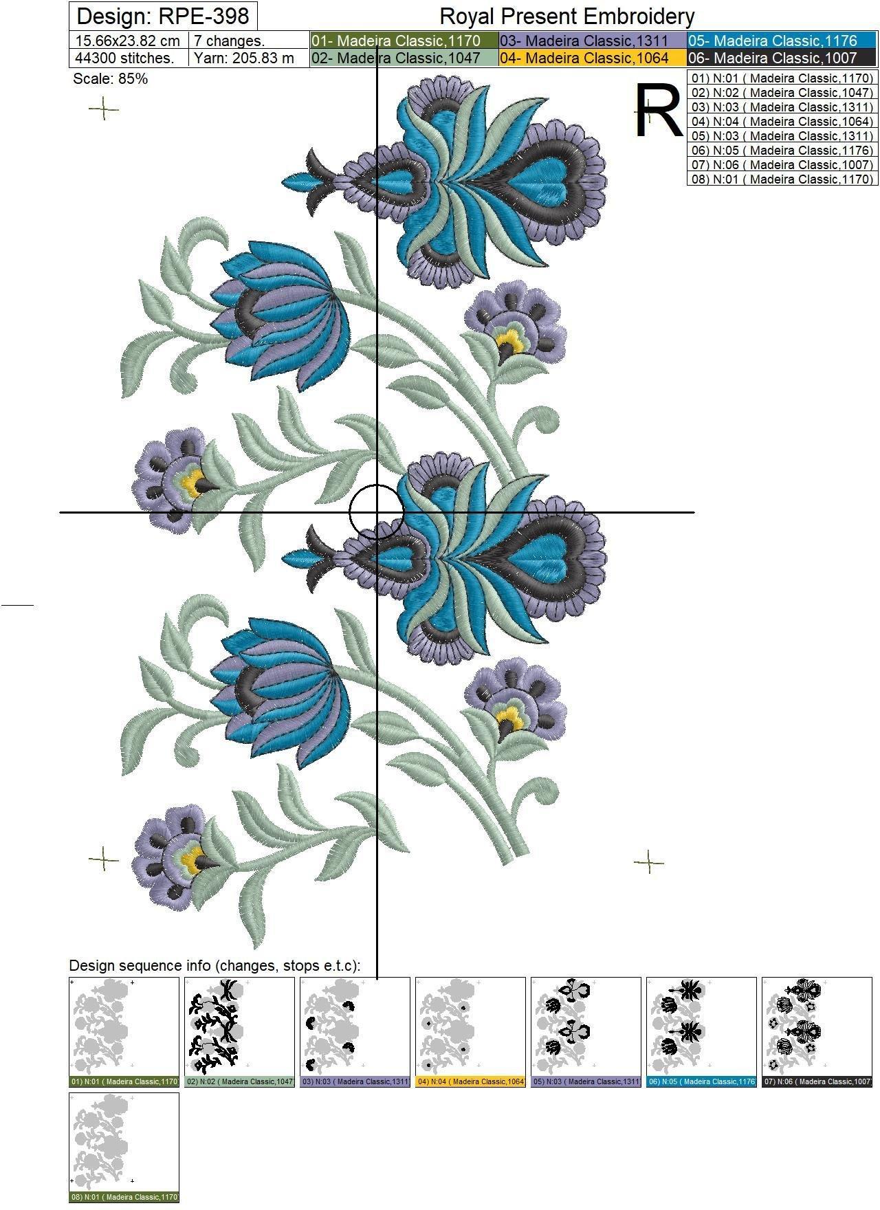 Дизайн машинной вышивки Орхидеи Бордюр