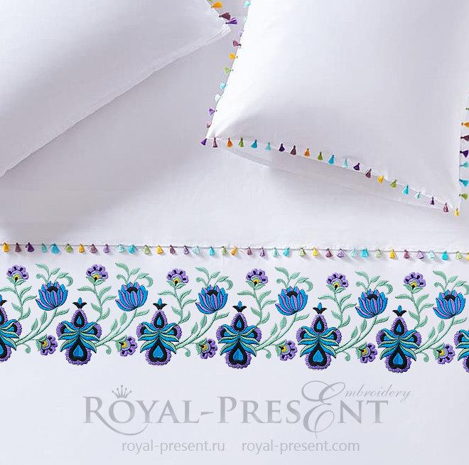 Дизайн машинной вышивки Орхидеи Бордюр RPE-398