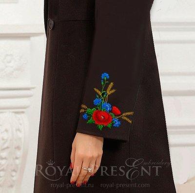 Эстонский Дизайн машинной вышивки Букет маки и васильки - 4 размера