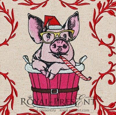 Новогодний Дизайн машинной вышивки Свинья - 2 размера