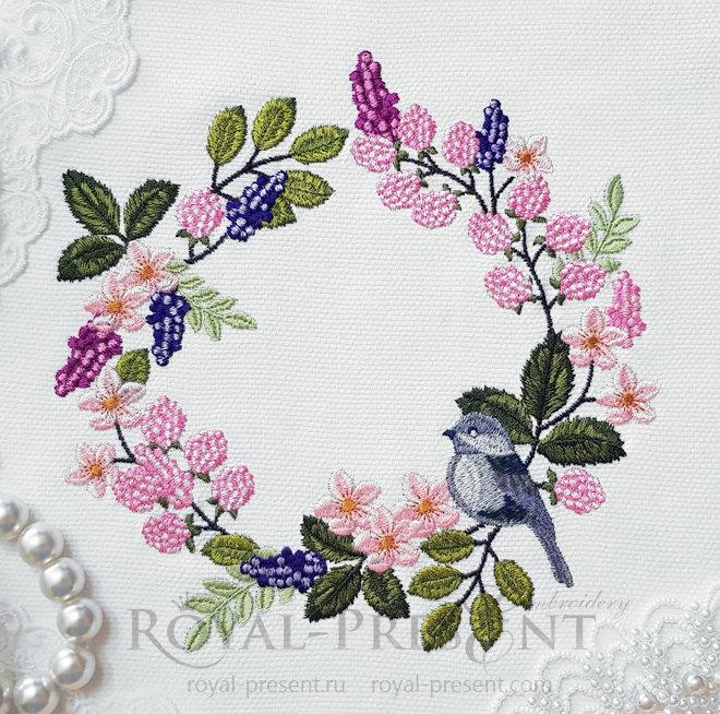 Дизайн машинной вышивки Воробей венок RPE-1422