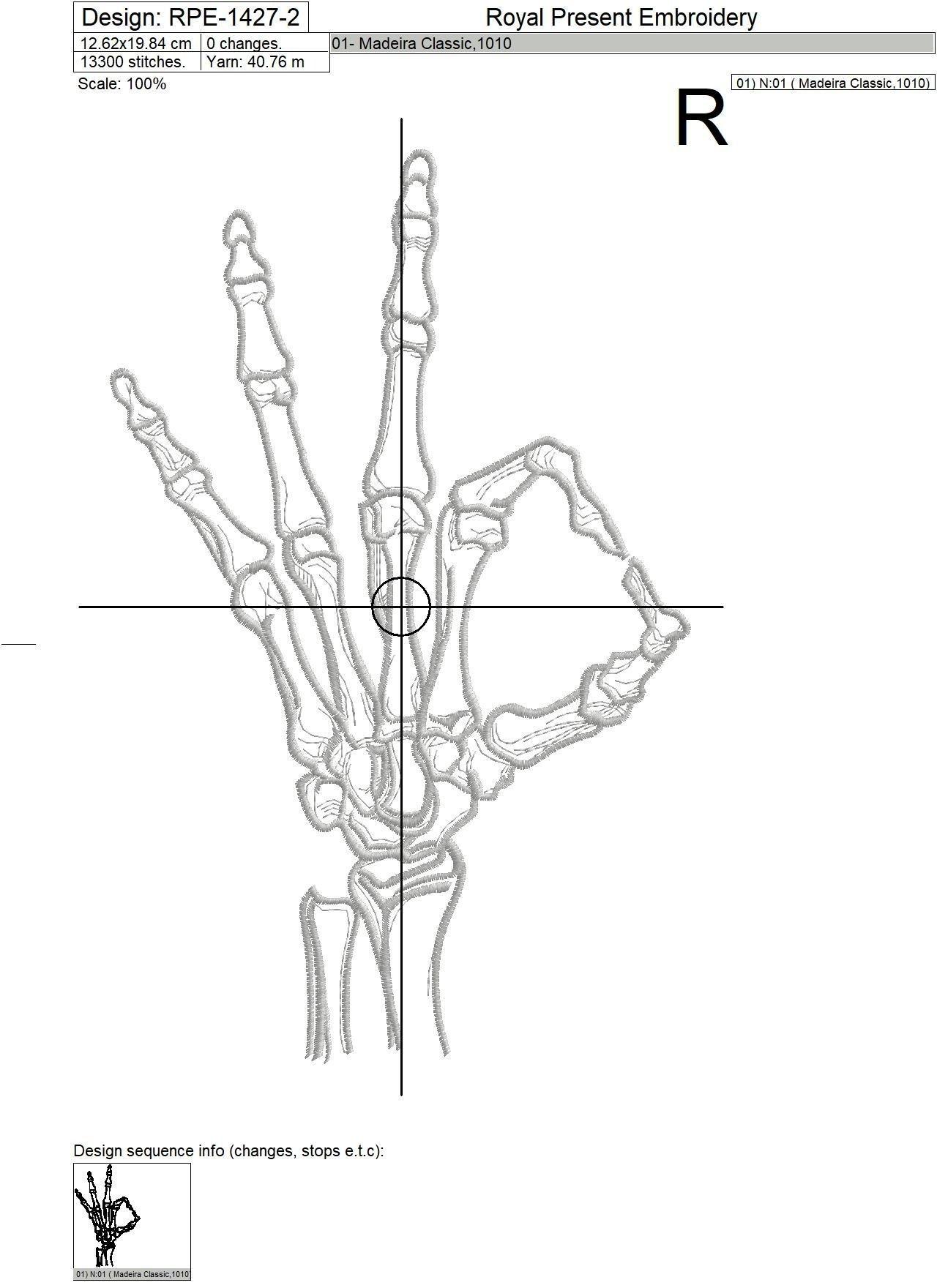 Дизайн машинной вышивки Рука скелета жест ОК - 3 размера