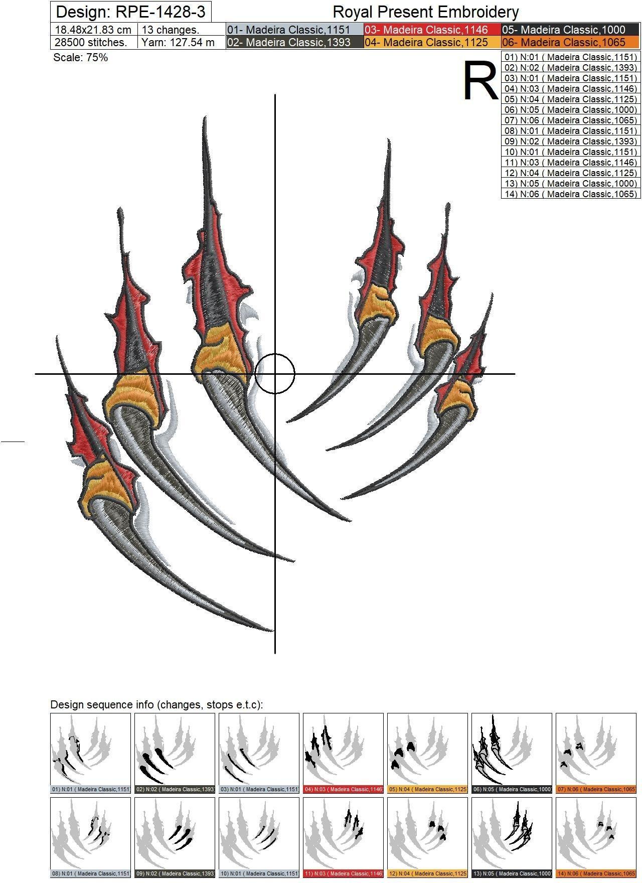 Дизайн машинной вышивки Когти хищника - 6 размеров
