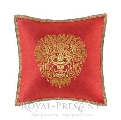 Дизайн для машинной вышивки Голова дракона - 3 размера