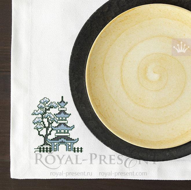 Дизайн машинной вышивки крестом бесплатно Китайская пагода RPE-291