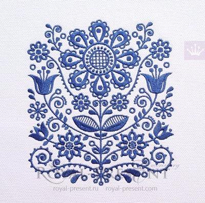 Дизайн машинной вышивки Скандинавский орнамент - 4 размера