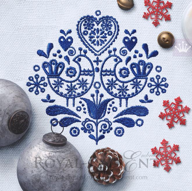Дизайн машинной вышивки Скандинавский узор - 3 размера