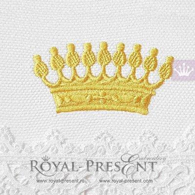 Дизайн машинной вышивки Средневековая корона - 4 размера