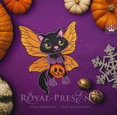 Дизайн машинной вышивки Кошка Хэллоуин - 2 размера