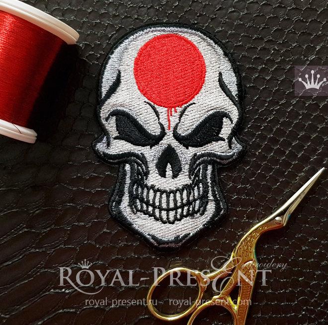Дизайн машинной вышивки Череп Японский флаг RPE-1440