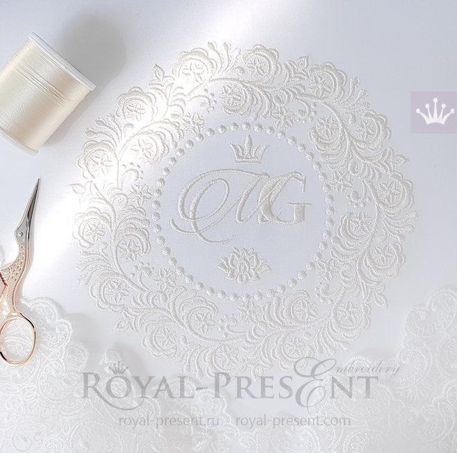 Дизайн машинной вышивки Свадебная рамка - 5 размеров RPE-1444