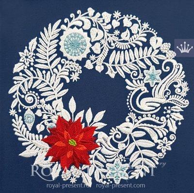 Дизайн машинной вышивки Рождественский венок - 3 размера