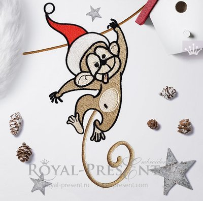 Дизайн машинной вышивки Новогодняя обезьянка - 2 размера