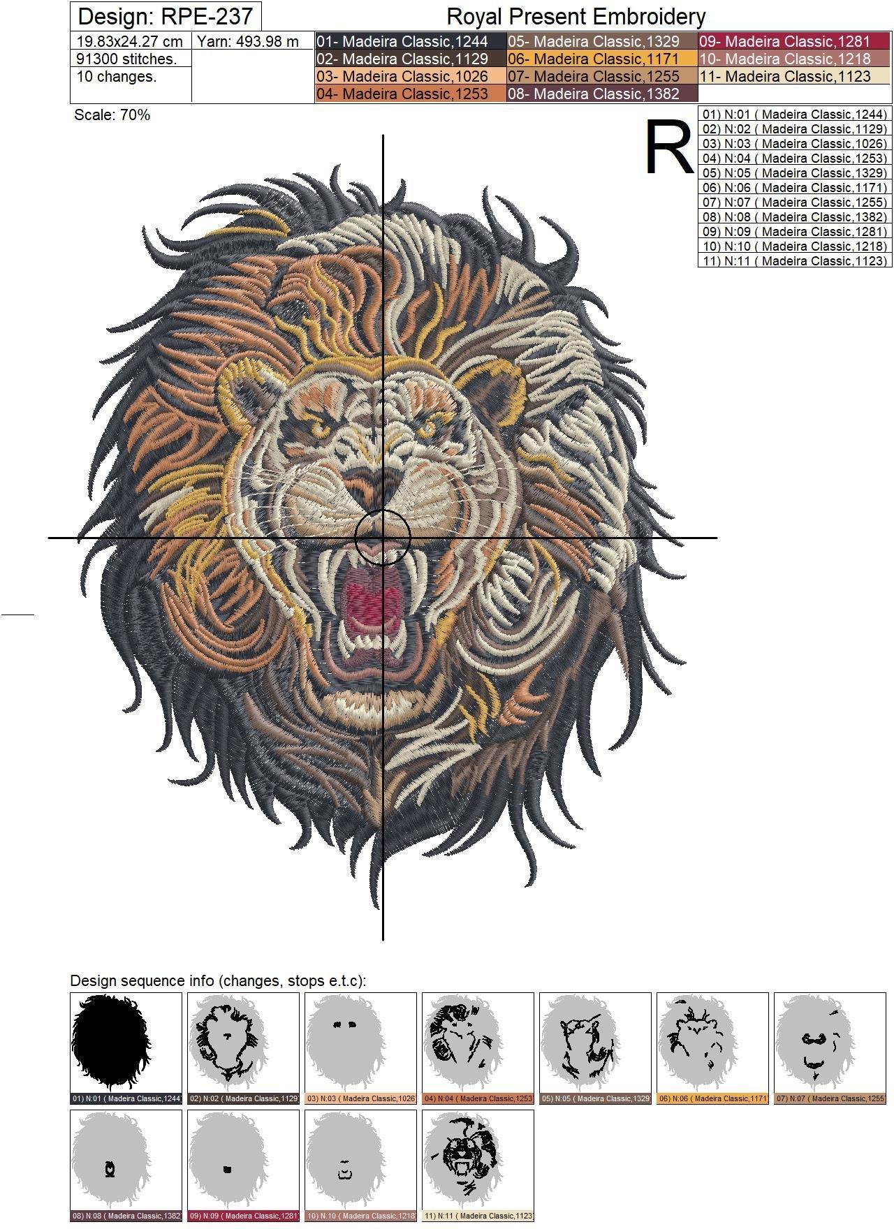Дизайн машинной вышивки Свирепый Лев - 2 размера