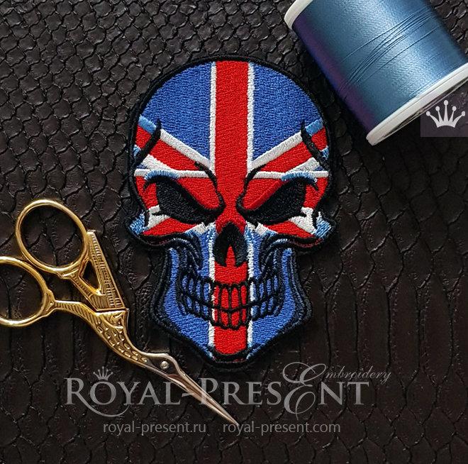 Дизайн машинной вышивки Череп Флаг Великобритании RPE-1446