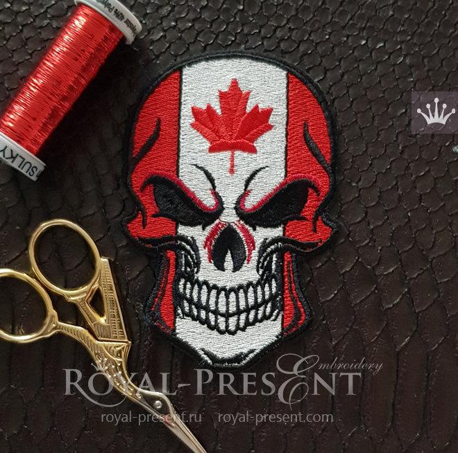 Дизайн машинной вышивки Череп флаг Канады RPE-609