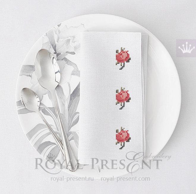 Дизайн машинной вышивки крестом Мини розочка RPE-007