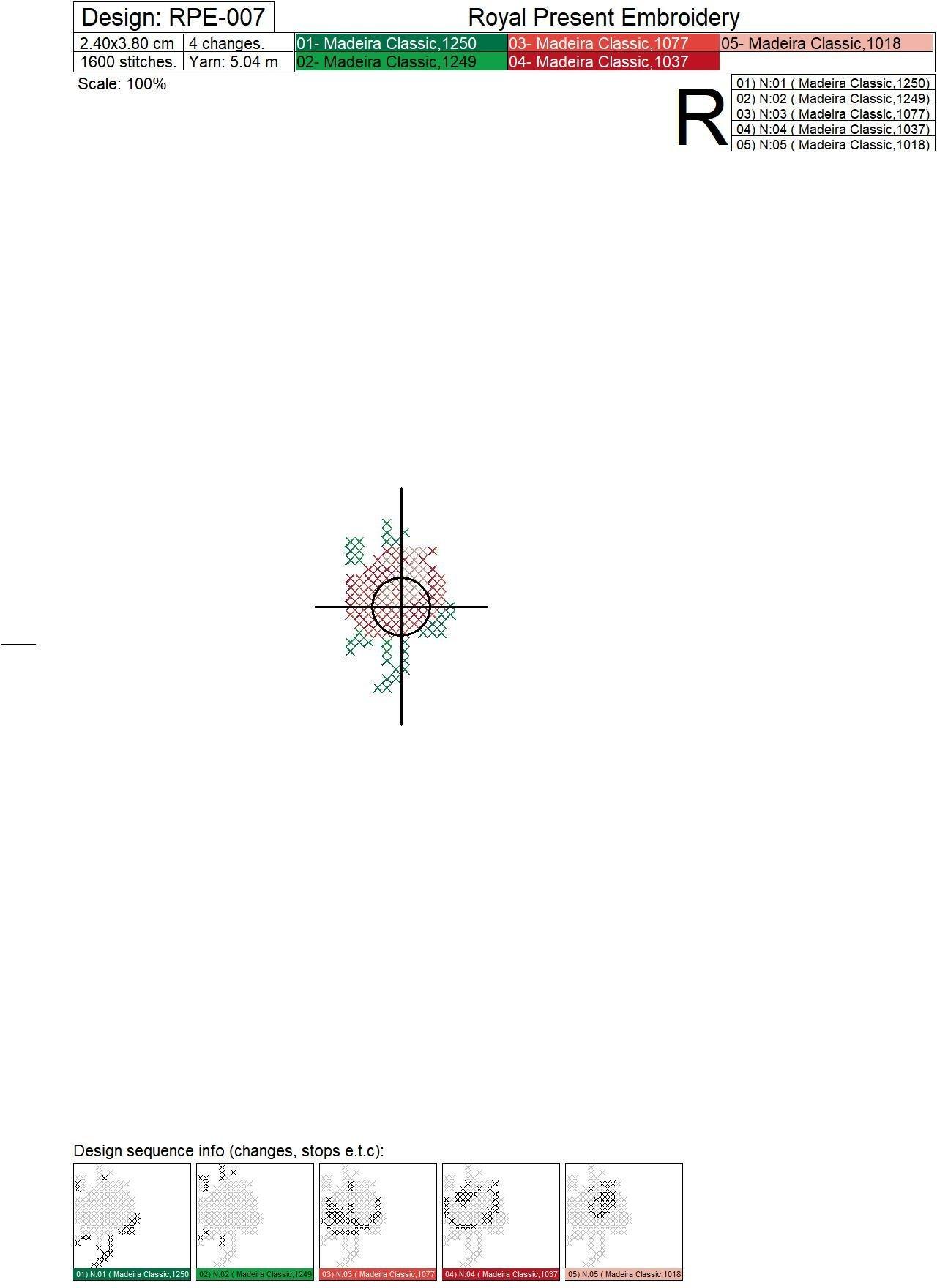 Дизайн машинной вышивки крестом Мини розочка