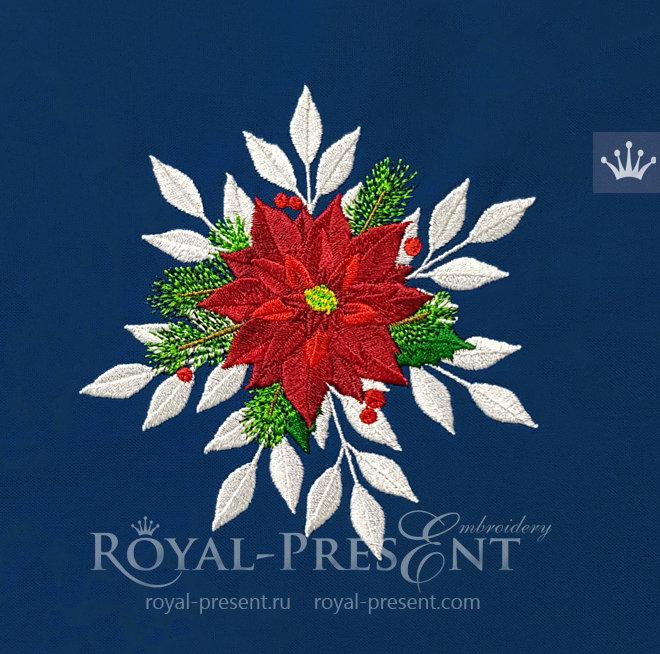 Дизайн машинной вышивки Рождественская Пуансетия - 2 размера RPE-342