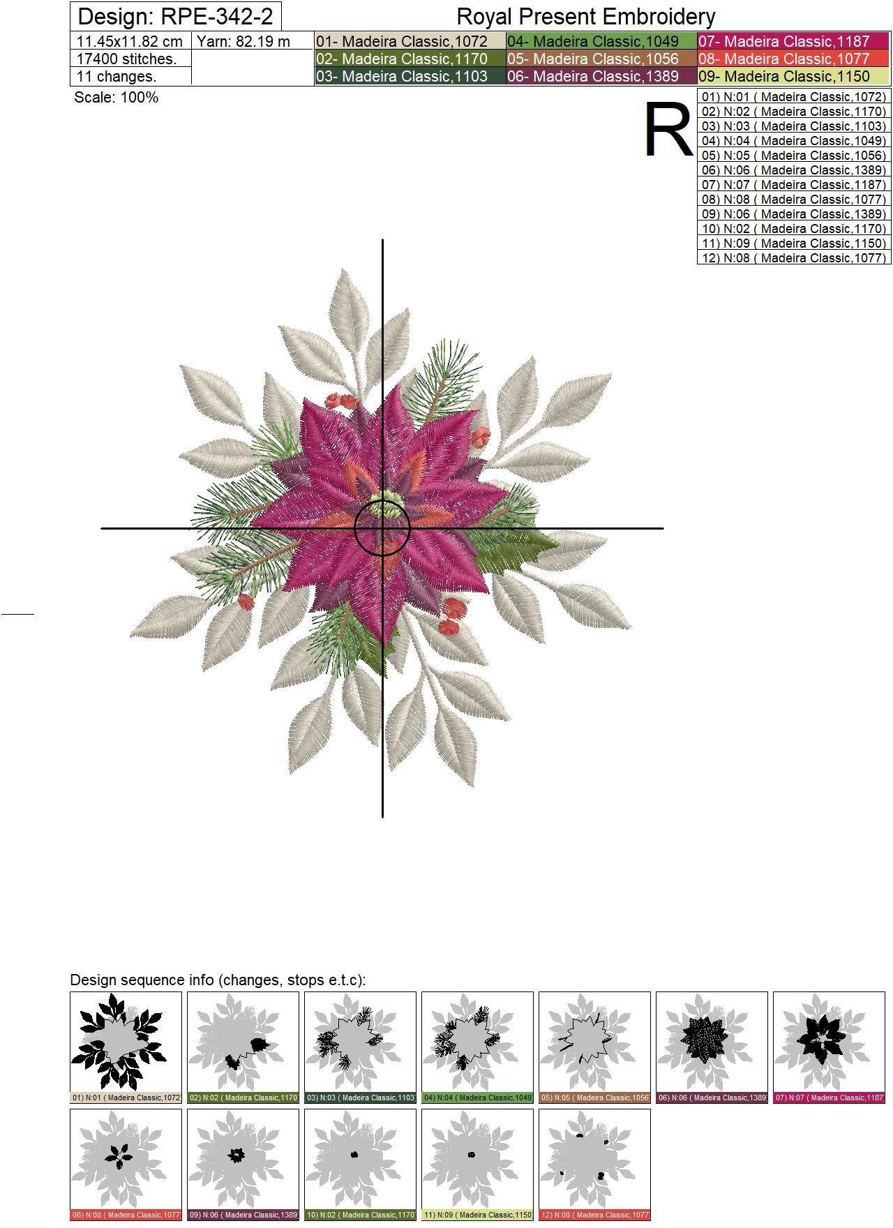 Дизайн машинной вышивки Рождественская Пуансетия - 2 размера