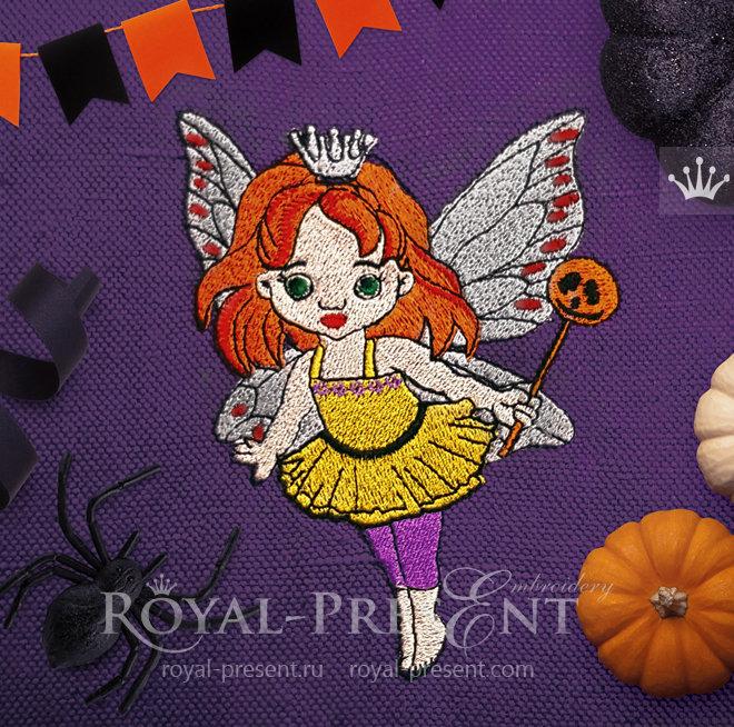 Дизайн машинной вышивки Фея Хэллоуина - 2 размера