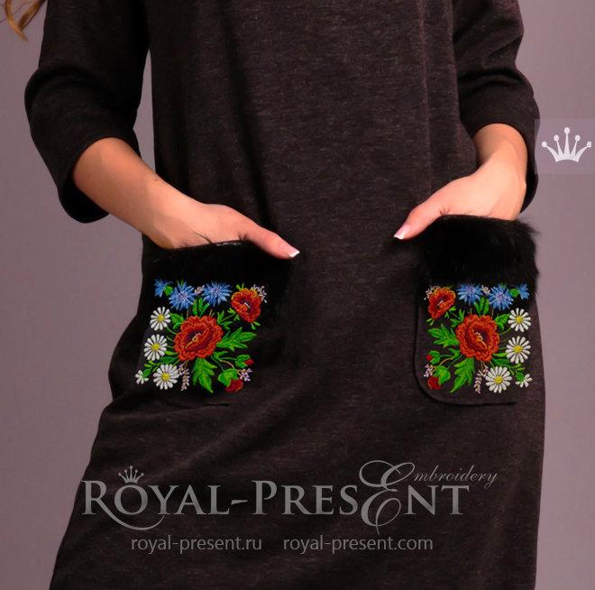 Дизайн машинной вышивки Эстонский узор с маками - 3 размера RPE-331