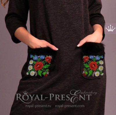 Дизайн машинной вышивки Эстонский узор с маками - 3 размера