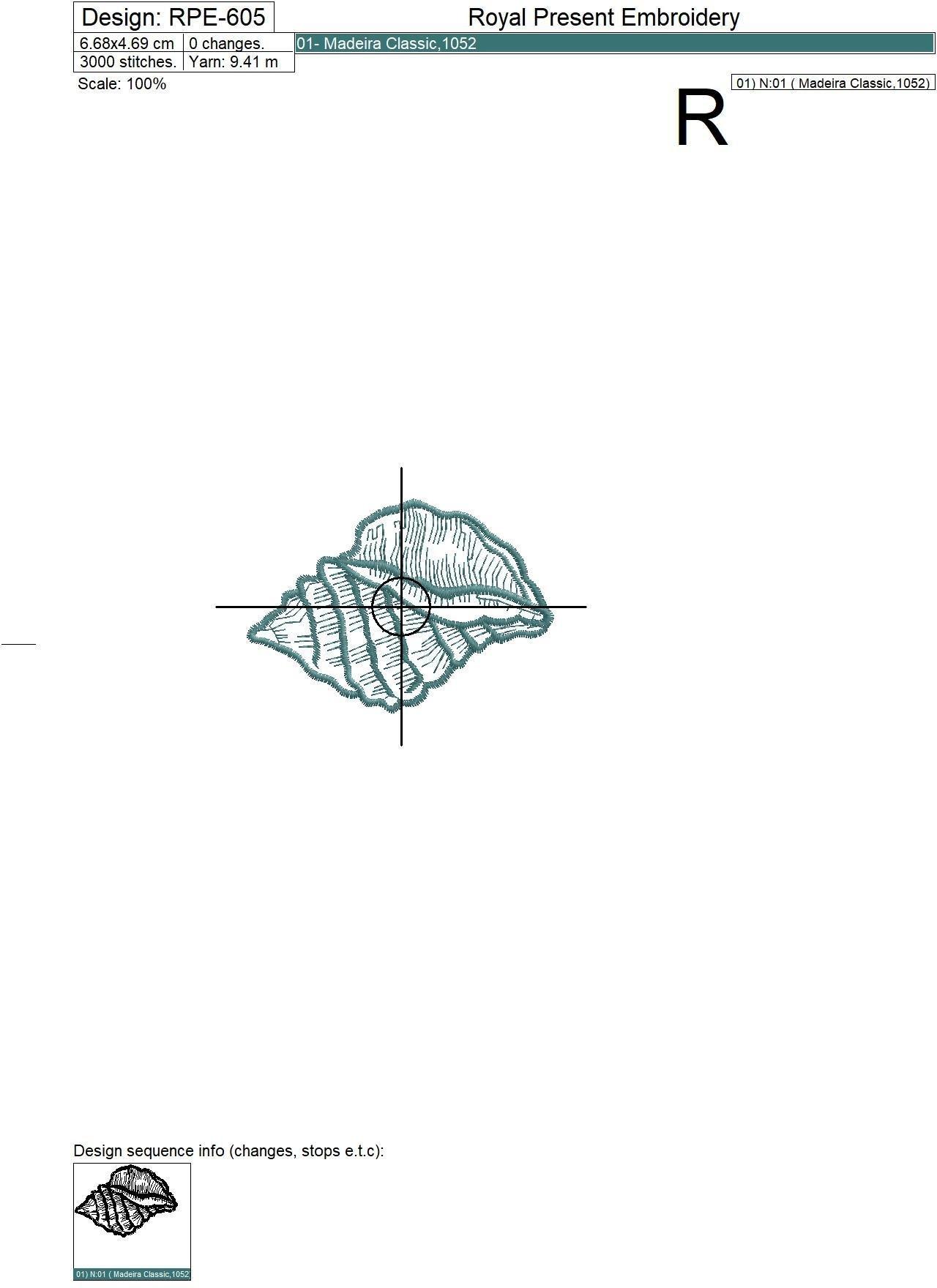 Бесплатный дизайн машинной вышивки Бирюзовая ракушка - 3 размера