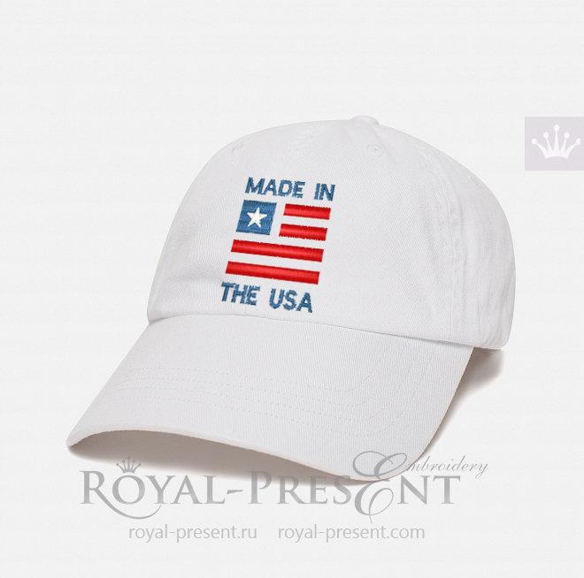 Бесплатный дизайн машинной вышивки Надпись Сделано в США PRE-094
