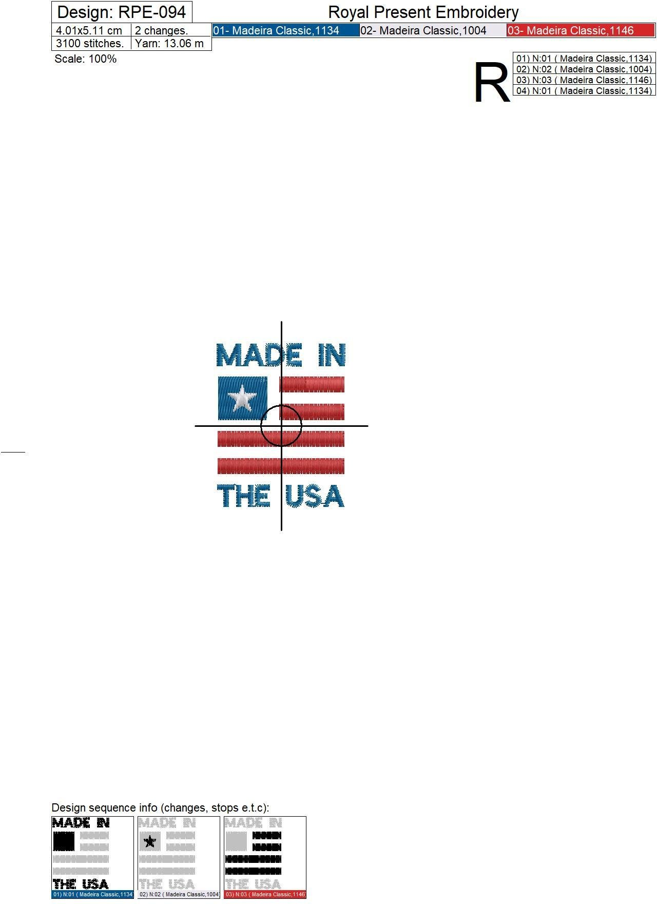 Бесплатный дизайн машинной вышивки Надпись Сделано в США