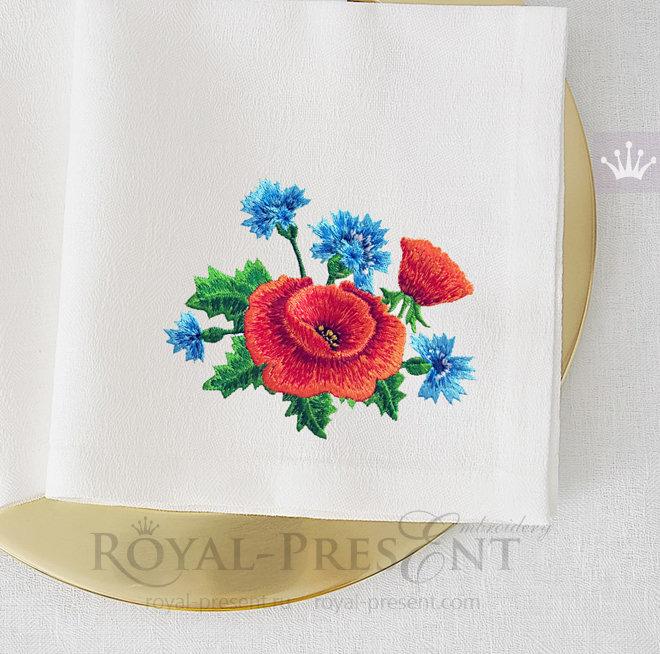Дизайн машинной вышивки Маки с васильками - 2 размера