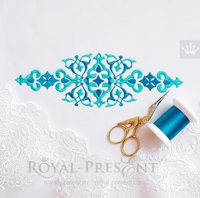 Дизайн машинной вышивки Синий восточный бордюр - 5 размеров