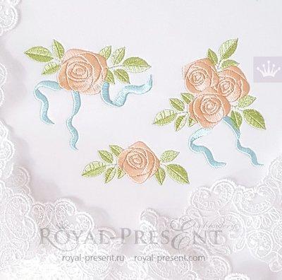 Мини розы Дизайны машинной вышивки
