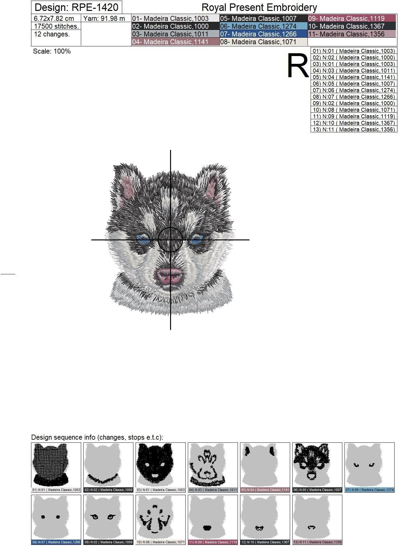 Дизайн машинной вышивки Карманный Хаски - 2 размера