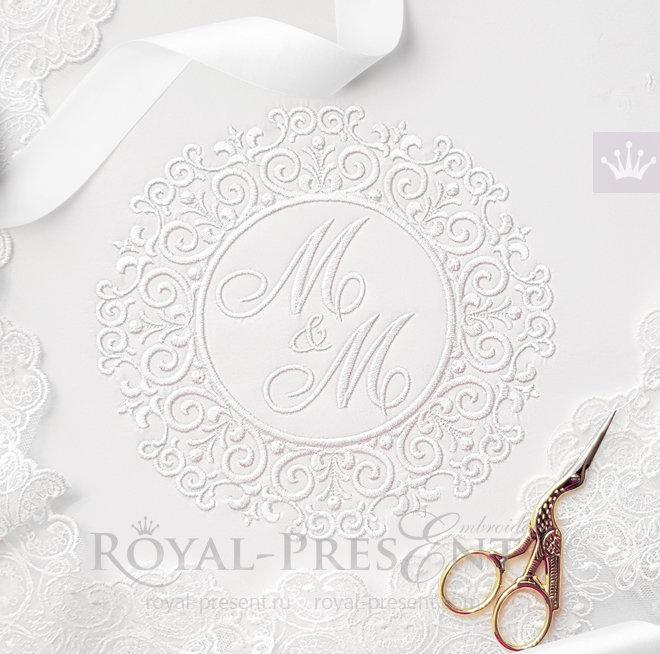 Свадебная рамка Дизайн для машинной вышивки - 3 размера RPE-759
